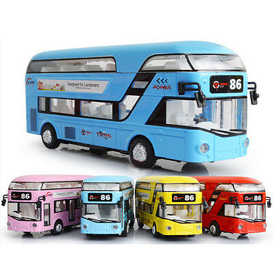 Sound and light Tour Bus Pull Back Metal Car Kid Toys Gift 17cm long