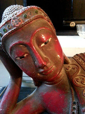 scultura lignea  sculpture antique  Budda Buddha disteso epoca 800