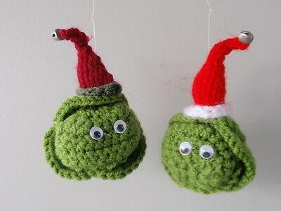 Hand crochet Christmas tree decorations sprouts with Santa hats X 2