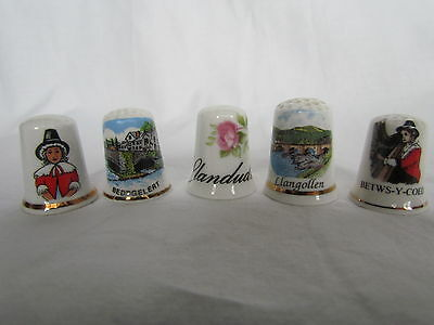 Collection Of 5 X Welsh Themed China Thimbles Various