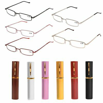 New Unisex Reading Glasses Clear Spring Hinge Reader Metal Tube With Hard Case