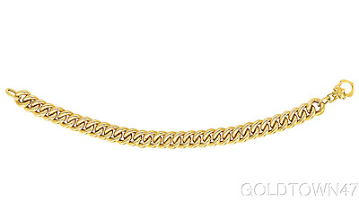 14kt Yellow Gold Shiny Comfort Curb Type Link Fancy Bracelet and Necklace