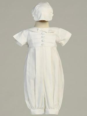 GABRIEL Long White Poly Cotton Romper Christening Outfit 0-3m 3-6m 6-12m 12-18m