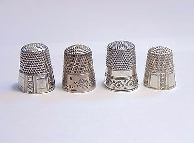 Vintage Antique Sterling Silver Various Hallmarks Thimble Lot 4 Pieces