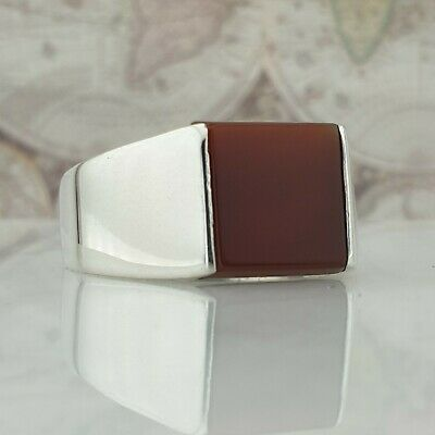 Turkish Ottoman Red Agate Gemstone 925 Sterling Silver Mens Ring Gemstone