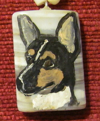 Rat Terrier hand painted on small, rectangular striped Onyx Agate pendant/bead/n