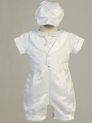 LUCAS Baby Boys White Satin Christening Outfit 0-3m 3-6m 6-12m 12-18m