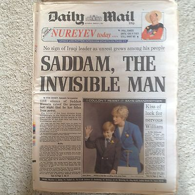 Daily Mail newspaper 2nd March 1991 Prince William Princess Diana