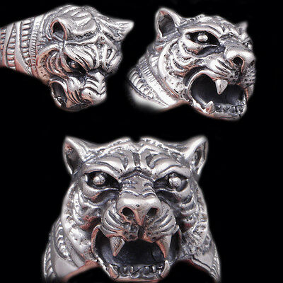 18g HEAVY TIGER LION KING PANTHER PREDATOR 925 STERLING SILVER MENS WOMENS RING