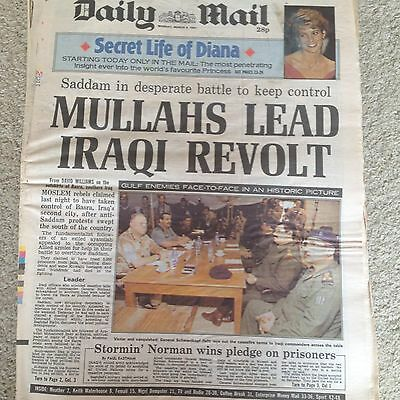 Daily Mail newspaper 4th March 1991 Secret Life of Princess Diana