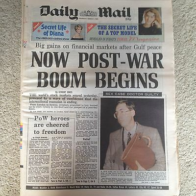 Daily Mail newspaper 7th March 1991