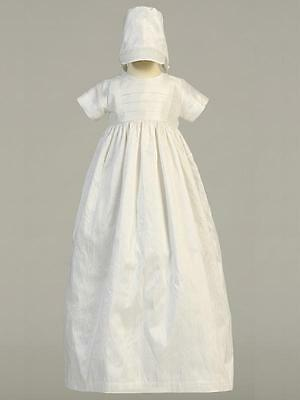 JAMIE Antique White 100% Silk Traditional Heirloom Unisex Christening Gown 0-18m