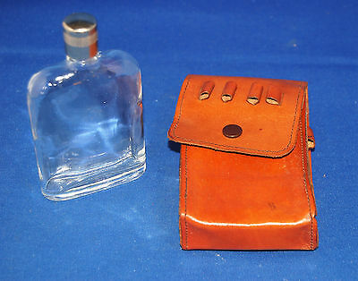 An excellent quality, vintage, unused, golf golfing hipflask and tee pouch