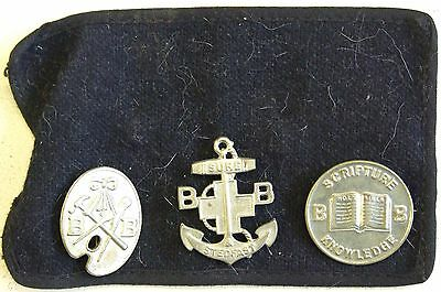 3 Scarce  Hobbies /bb/ Scripture Knowledge Boys Brigade Badges On Armband.