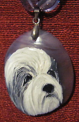 Bearded Collie hand painted on oval Onyx Agate pendant/bead/necklace
