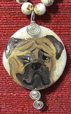 Bullmastiff hand painted on round, wire wrapped pendant/bead/necklace