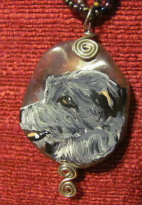 Scottish Deerhound hand painted on wire wrapped Flourite pendant/bead/neckkace