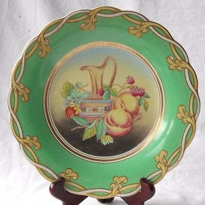 Rarec19Th Charles Meigh Staffordshire Hand Painted Opaque Porcelain Fruit Plate