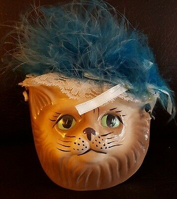 Cat Wall Art Face Ceramic Porcelain Figurine Decorative Hanging Mask Kitty Meow