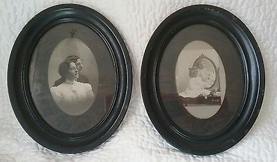 Antique Pair of Tin Oval Picture Frames Victorian Couple & Child Late 1800's