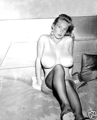Vintage 1960s DD Breasts Virginia Bell sitting on bed 8 x 10 Photograph