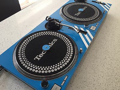 2 X Technics SL-1210 MK2 Turntables With Custom Baby Blue Covers & Matching 45