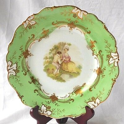 C19Th Ridgway Hand Painted Ornate Plate With Couple She Seated He Playing Flute