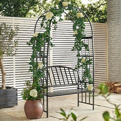 Metal Arbour 2 Seat Bench Garden Arch Climbing Flowers Outdoor Patio Vintage
