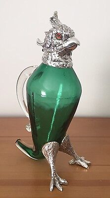 "Cool ""Chicken"" Silver Plate & Coloured Glass Pitcher. Open To Offers."