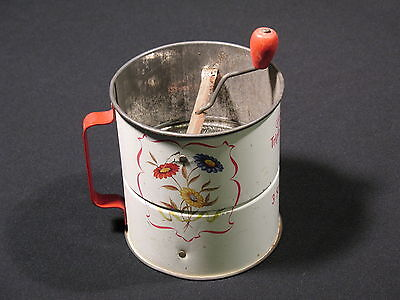 Vintage Androck Flour Sifter 3 screen Flowers Kitchen Decorative