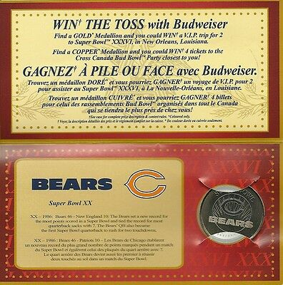 Chicago Bears Superbowl Medallion Budweiser 2001 Football Collectible