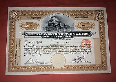 Mexico North Western Railway Co., share certificate dated 1912