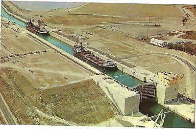 Vintage Old Postcard Unused St Lawrence Seaway Canada Aerial View Power Project
