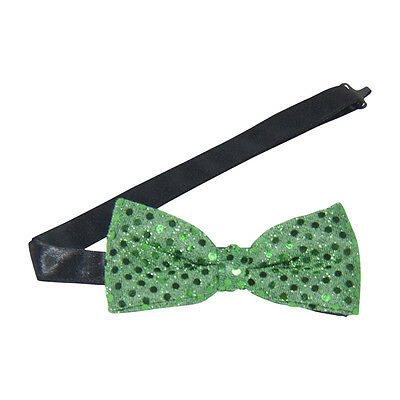 Emerald Green Sequins Banded Bow Tie