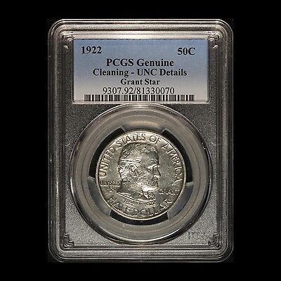 1922 50c Grant w/Star Silver Commemorative PCGS Cleaning Uncirculated Details