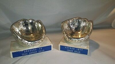 Vintage Marble Base SILVER Tone Baseball Holder 2 Ea.- Made in Italy