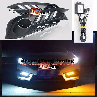 RS Turbo Front LED Fog Cover DRL & Turn signal  Light for 2016 2017 Honda Civic