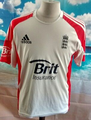 "ENGLAND™ CRICKET SHIRT. White adidas Climacool 20"" pit-to-pit, 28"" length, Large"