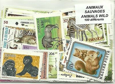 "Lot timbres thematique "" Animaux sauvages """