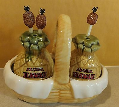 Vtg Aloha Hawaii Pineapple Salt & Pepper Shakers With Cocktail Spears In Basket