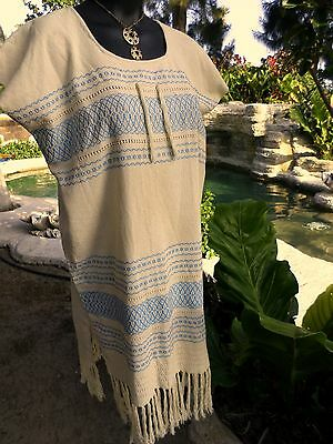 Mexican Natural Woven Fringed Womens Tunic Blouse Dress Turquoise Small 6/8/10