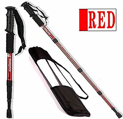 Trekking Poles Pair of Telescopic Lightweight Walking Hiking Sticks Red