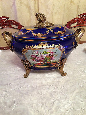 victorain blue cobalt decarative  tureen