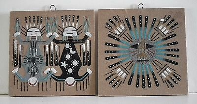 Vintage Navajo Sand Paintings Mother Earth Father Sky and Sacred Sun