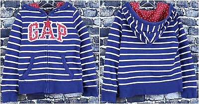 BABY GAP L/S Hooded Zipper Sweater Size 5 Blue White Stripes Red Stars Hoodie