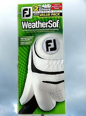 Footjoy WeatherSof 2 glove value pack. White Mens Left size Small Weather Soft