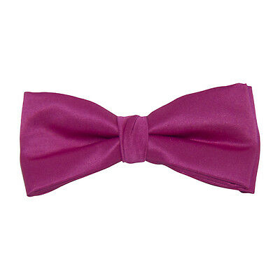 Fuchsia Satin Clip-On Bow Tie