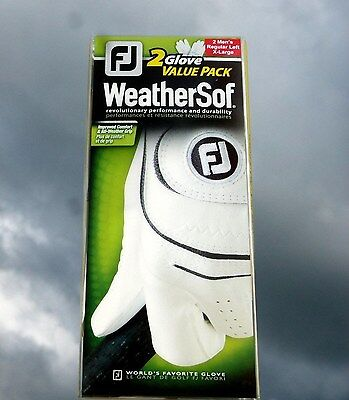 Footjoy WeatherSof 2 glove value pack. White Mens Left  Extra Large Weather Soft