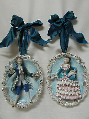 PAIR  porcelain wall plaques french style baroque paris shabby pink vintage