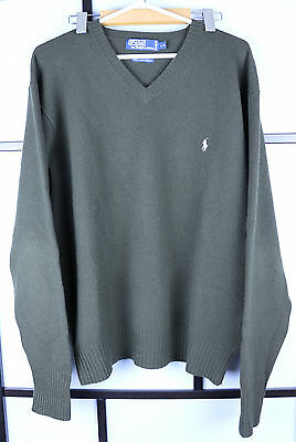 RALPH LAUREN Lamb's Wool Long Sleeve V-Neck Sweater Size Large Forest Green